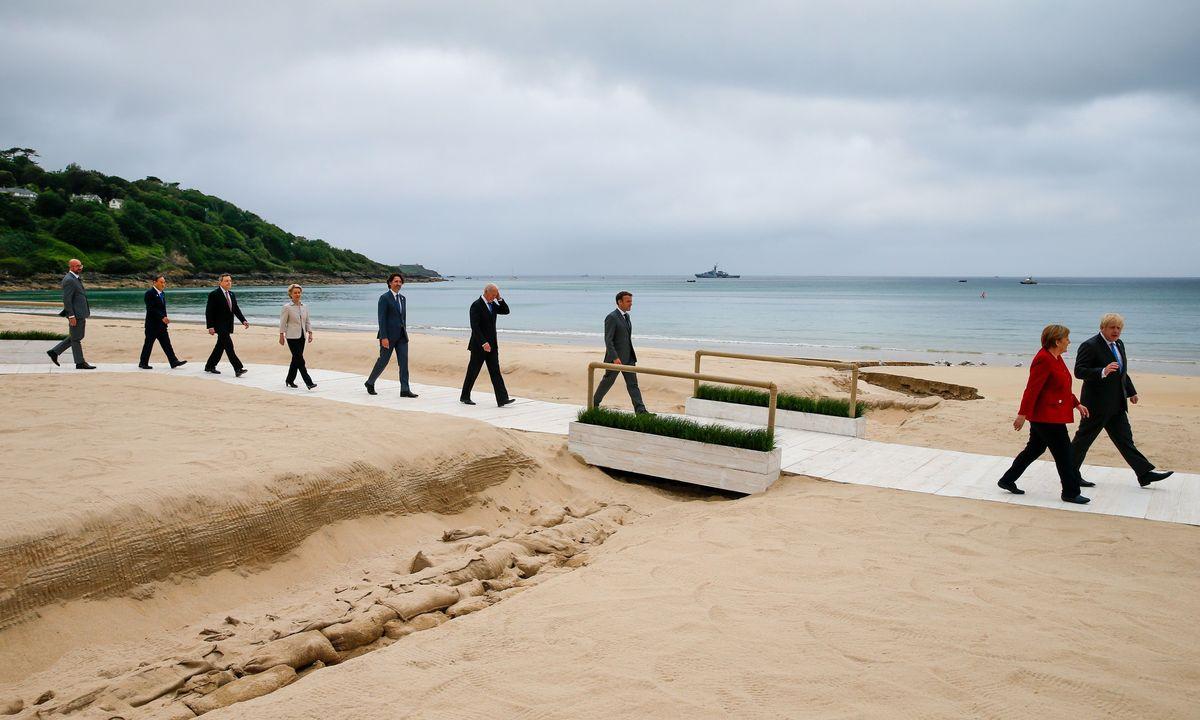 G-7ko liderrak, hilabete hasieran Kornuallesen egindako bileran. ©HOLLY ADAMS / EFE