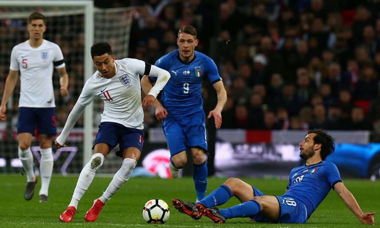 Ingalaterrak eta eta Italiak 2018ko martxoan Wembleyen jokatutako lagunarteko partida. ©KIERAN GALVIN / EFE