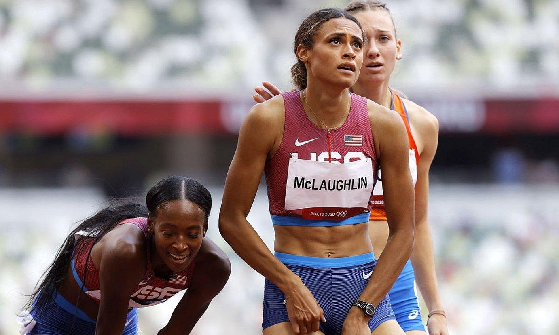 Sydney McLaughlin, finala irabazi berritan, atzo. ©VALDRIN XHEMAJ / EFE