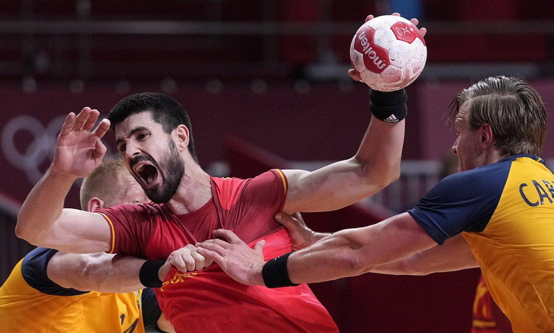 Eduardo Gurbindo, Suediaren aurkako final-laurdenetako partidan. ©FRANCK ROBICHON / EFE