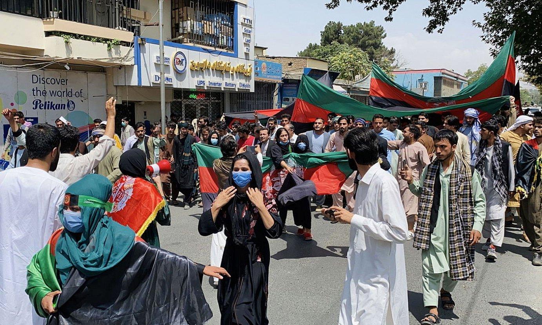 Kabulen eginiko mobilizazioa, atzo. ©EFE