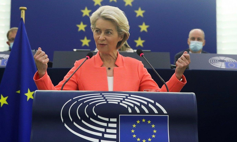 Europako Batzordeko presidente Ursula Von der Leyen, atzo, Europako Parlamentuko agerraldian. ©YVES HERMAN / EFE