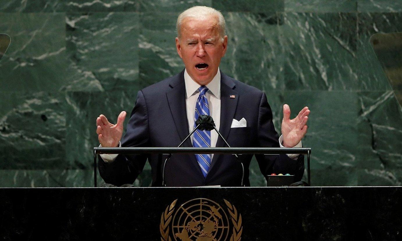 Joe Biden AEBetako presidentea, Nazio Batuen Erakundearen Batzar Orokorrean, atzo. ©EDUARDO MUÑOZ / EFE