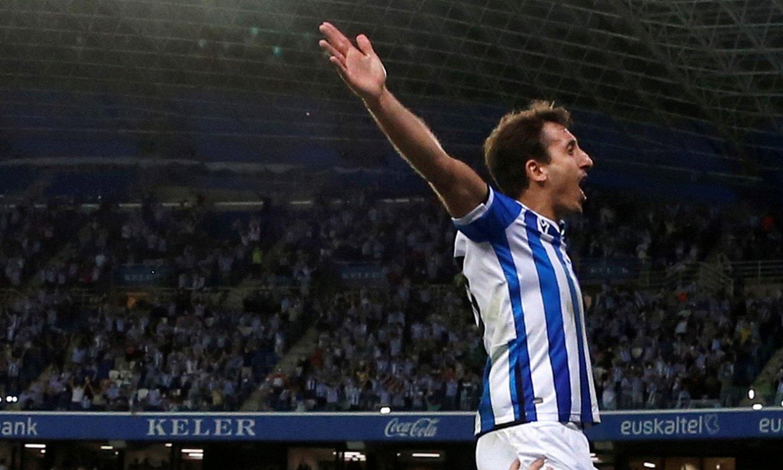 <b>Oiartzabal eta Portu, Elxen kontrako gola ospatzen.</b> ©JUAN HERRERO / EFE