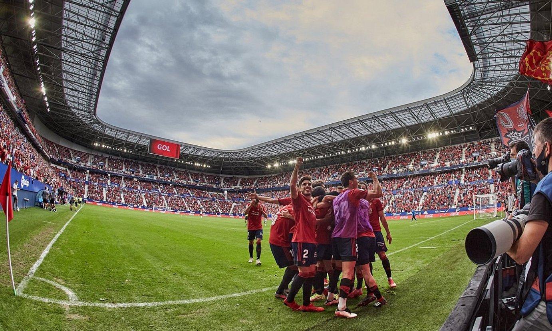 Osasunako jokalariak, Manu Sanchezen gol erabakigarria ospatzen. ©CLUB ATLETICO OSASUNA