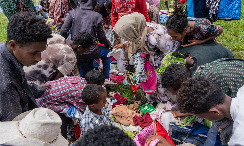 Gatazkatik ihes egindako herritarrak artatzeko kanpalekua, Dese hirian, Amhara estatuan. ©EFE