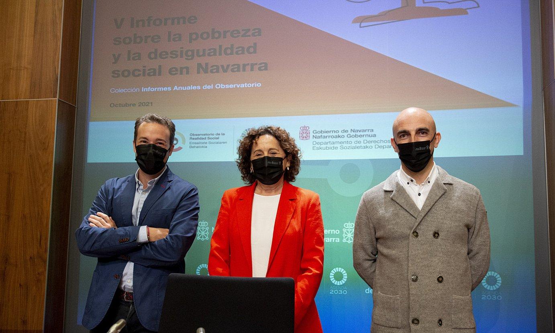 Nafarroako pobreziari eta desberdintasun sozialari buruzko txostena aurkeztu zuten atzo, Iruñean. ©IÑIGO URIZ / FOKU