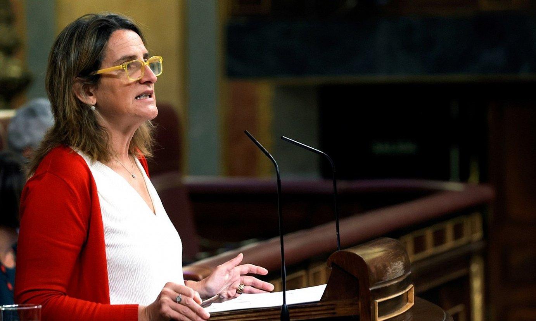 Teresa Ribera Espainiako Trantsizio Ekologikorako ministroa, atzo, kongresuan. ©ZIPI / EFE
