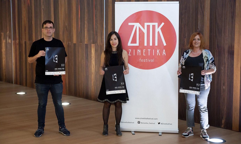 Sofia Alforja, Laida Aldaz eta Ander Gisasola, atzo, Baluarte auditoriumean, Zinetikaren aurkezpenean. ©IÑIGO URIZ / FOKU