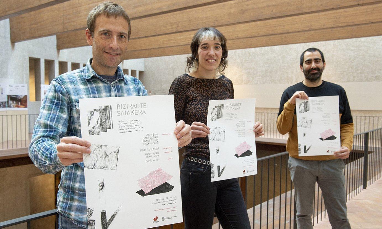 Jokin Kanpion, Saioa Alkaiza eta Ander Perez, atzo, Iruñeko Kondestablearen jauregian. ©IÑIGO URIZ / FOKU