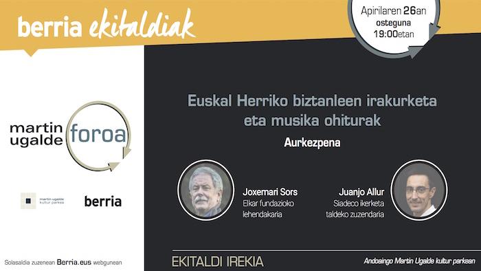 Martin Ugalde Foroa: Euskal Herriko biztanleen irakurketa eta musika ohiturak
