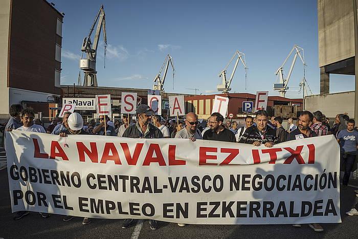 Navalen itxieraren kontrako manifestazioa Sestaon