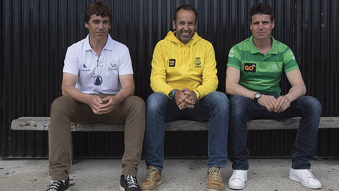Mikel Orbañanos, Igor Makazaga eta Jon Salsamendi entrenatzaileak