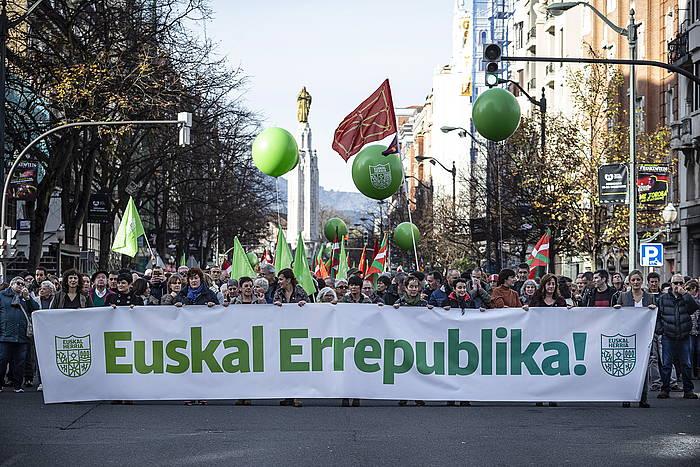 «Euskal Errepublikaren» aldeko manifestazioa Bilbon